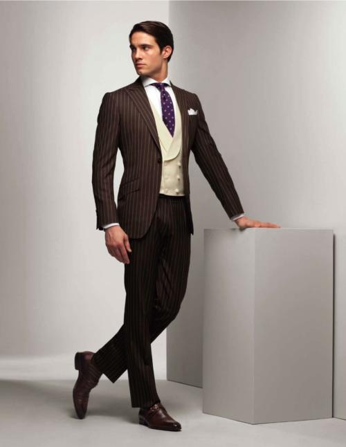 Brown-Chalk-Stripe-Suit-with-Double-Breasted-Vest