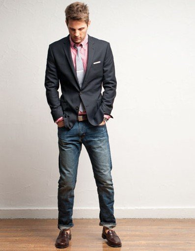 suit jacket and jeans