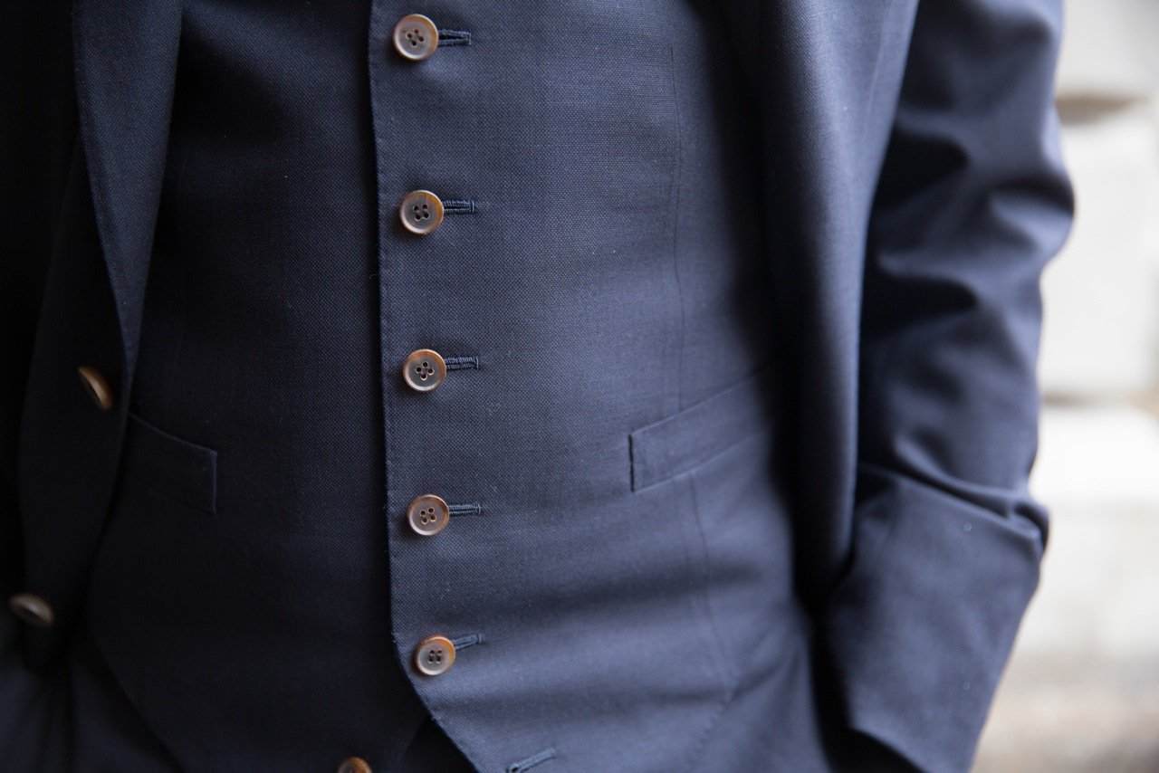 Cifonelli navy suit waistcoat