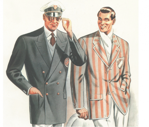 Double breasted suit Italian illustration