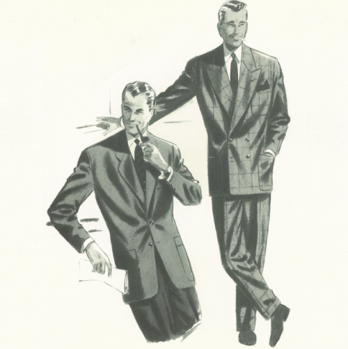 Double breasted suit Italian illustration2