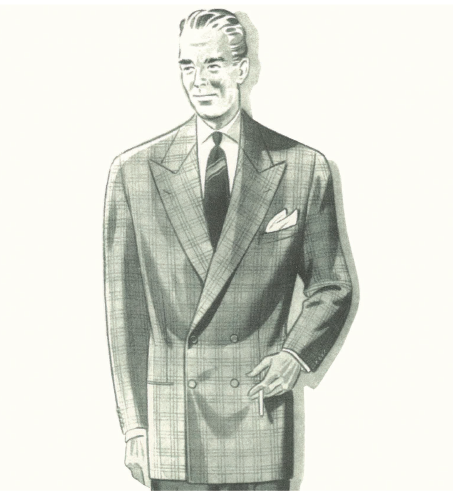 Double breasted suit Italian illustration3
