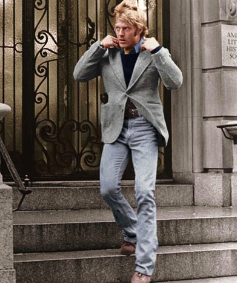 grey herringbone jacket robert redford