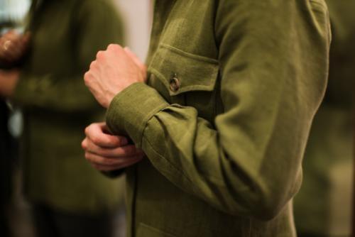 linen safari jacket Budd sleeve
