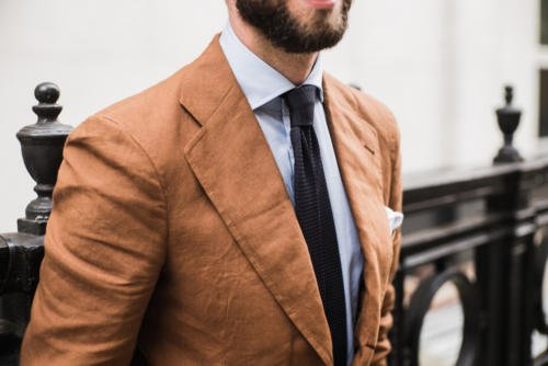 linen suit brown