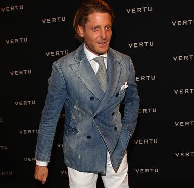 Lapo+Elkann+double breasted+Denim+Jacket+rubinacci