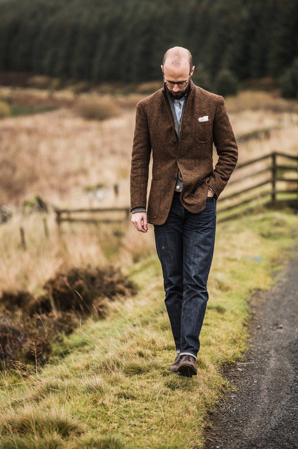 Harris tweed jacket and jeans