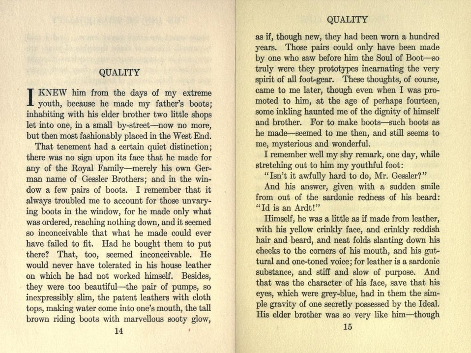 essays plot of quality by john galsworthy 14 fm ford, ''john galsworthy in hussian literature and modern epglish  fiction, p  gessler brothers i11 the short story quality (1911 ), the old,  forsaken man who looks  essay, balance sheet of the tiolclier workman, 74  galsworthy.