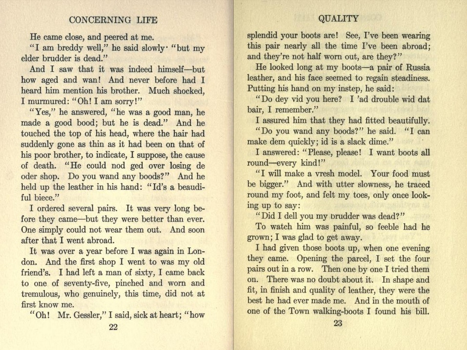 Short story quality by john galsworthy