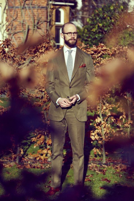 Reillo cotton bespoke suit green