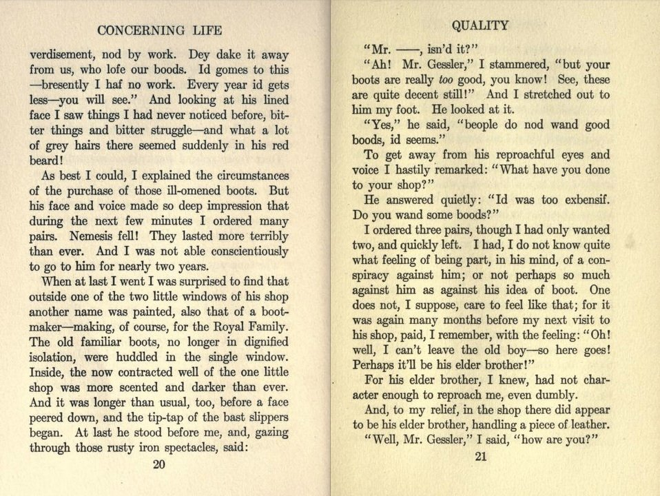 essay on quality by john galsworthy Studies and essays by john galsworthy je vous dirai que l'exces est toujours un mal--anatole france concerning life table of contents: quality the grand jury gone threshing that old-time place romance--three gleams memories felicity quality page 1 / 59.