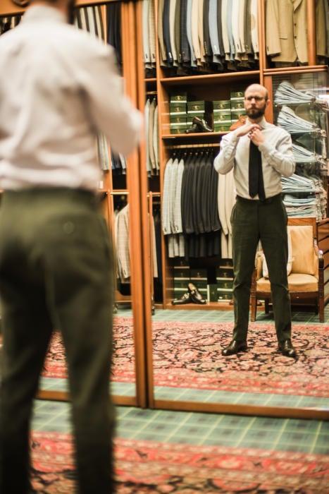 Green cotton trousers Calvo de Mora2
