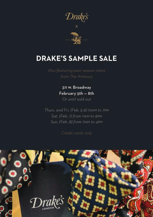 New York: Drake's and Armoury sample sale