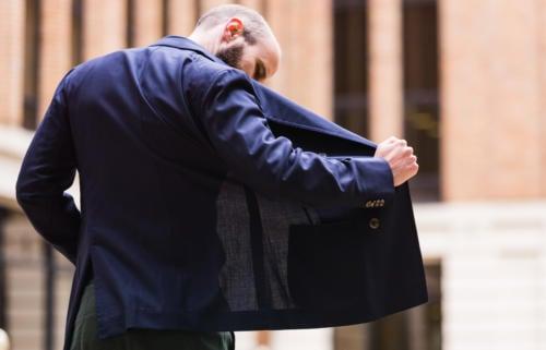 Caliendo Neapolitan hopsack blazer double breasted