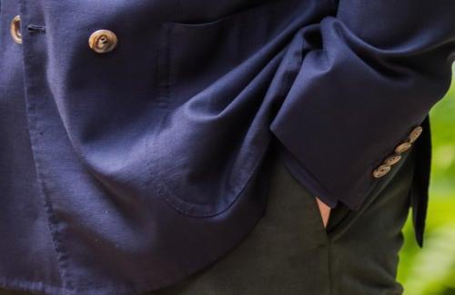 Caliendo Neapolitan hopsack blazer pocket