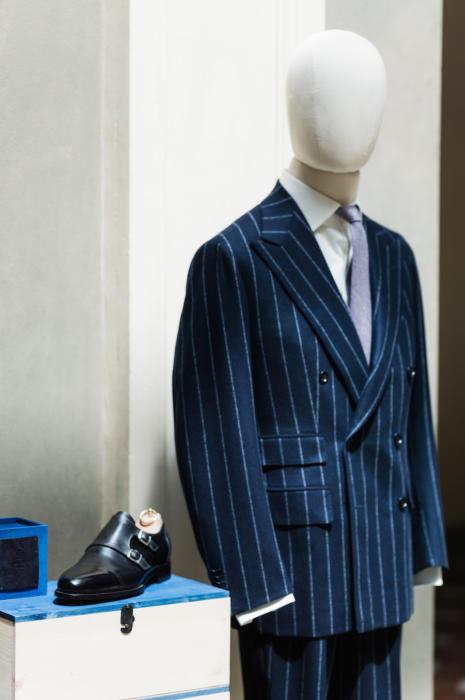 Antonio Panico chalkstripe DB suit Symposium