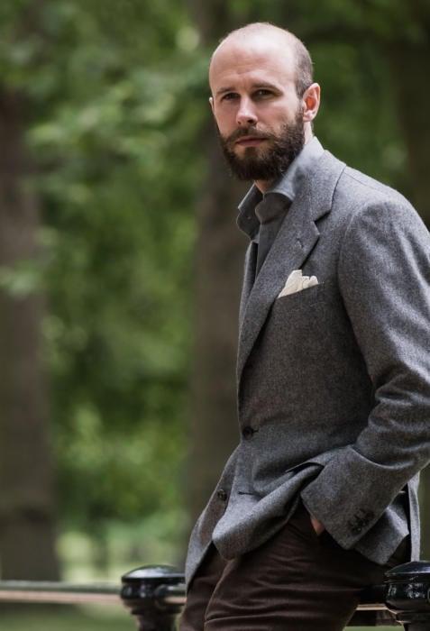Caraceni grey herrinbone cashmere jacket