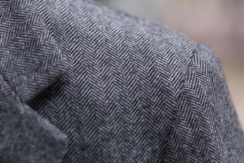Caraceni bespoke cashmere jacket shoulder