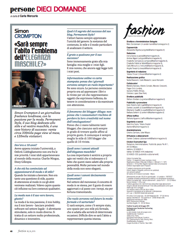 Interview in Fashion (the magazine)