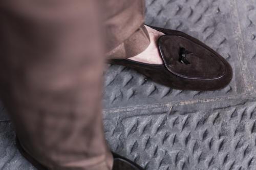 Rubinacci belgian suede slippers brown