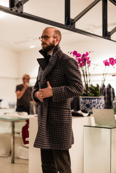 Stile Latino overcoat on Simon Crompton