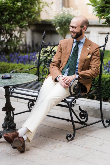 brown linen jacket with cream gabardine trousers langa