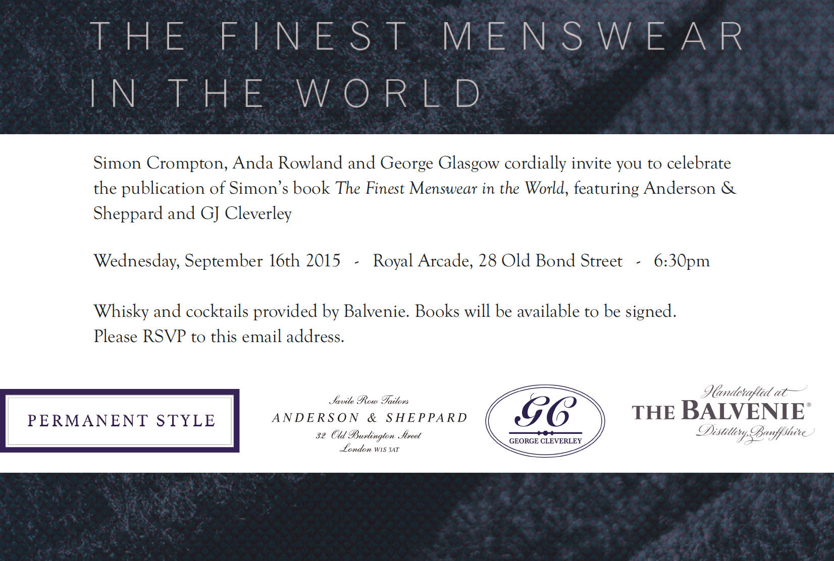 Come to the book launch: The Finest Menswear in the World