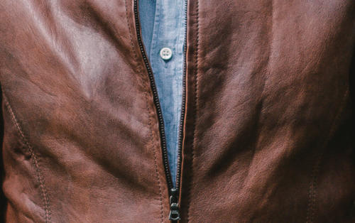 Bespoke leather jacket Davide Taub close up