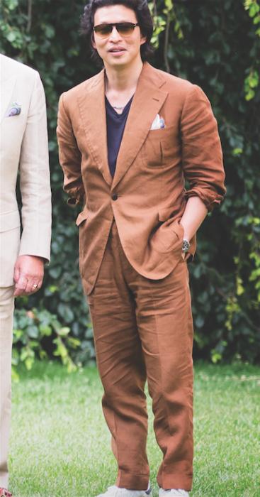 Wei Koh in Rubinacci linen suit