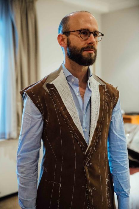 Cifonelli bespoke suede jacket basted
