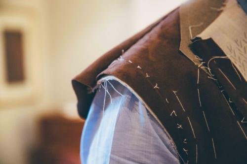 Cifonelli bespoke suede jacket shoulder