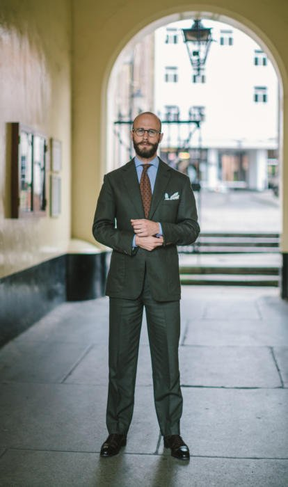 Green flannel bespoke suit Brian Smith