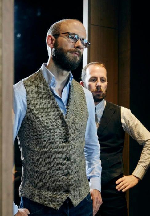 Herringbone waistcoat Davide Taub bespoke gieves