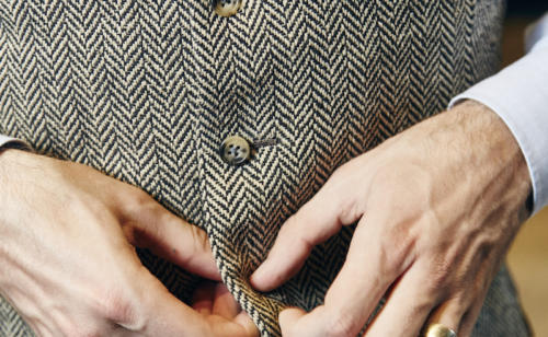 Herringbone waistcoat Davide Taub bespoke preppy trad