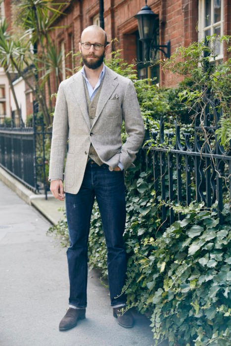 Jacket and jeans with casual waistcoat