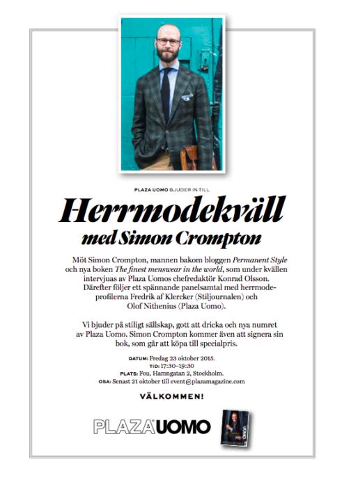 Simon Crompton book launch party Plaza Uomo