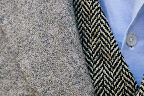 a tweed and waistcoat with chambray shirt