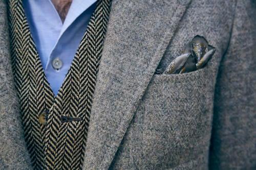caliendo tweed jacket and drakes handkerchief