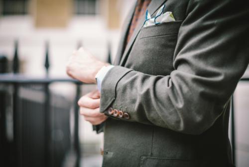 gauntlet cuff Green flannel bespoke suit Brian Smith
