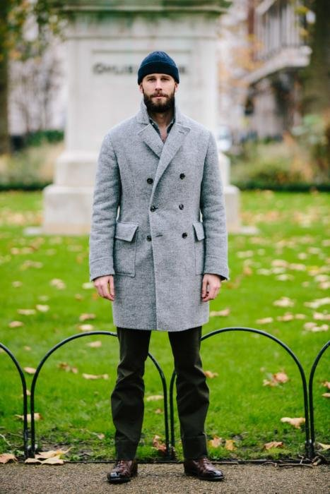 Stile Latino grey double breasted overcoat