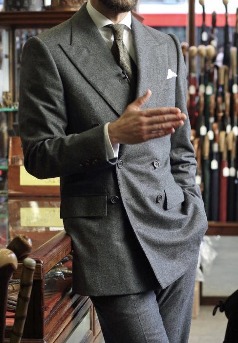 double breasted grey flannel suit