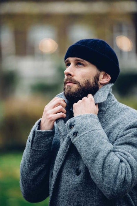 grey double breasted overcoat notch collar