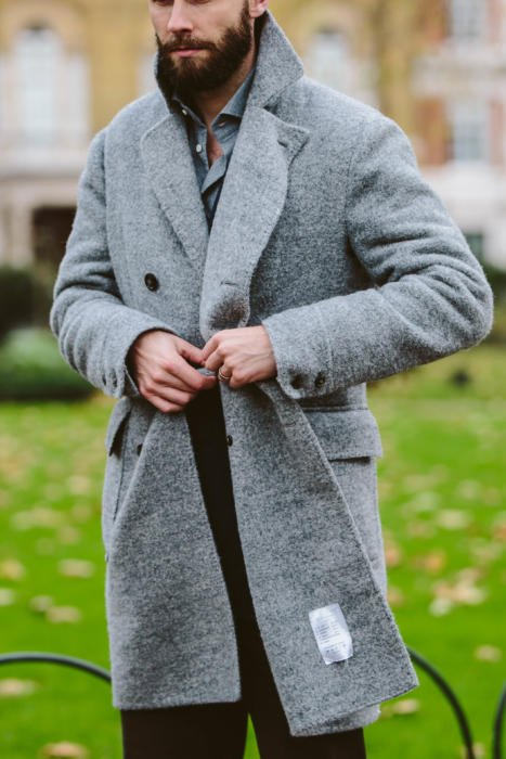stile latino grey overcoat