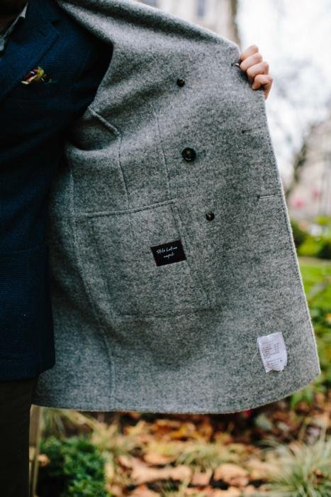 unlined grey overcoat