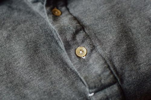 Friday polo shirt grey detail hand sewn button