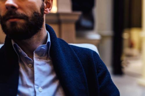 button down bespoke shirt and shawl collar sweater