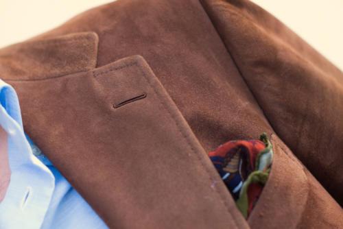 Cifonelli bespoke suede jacket Buttonhole