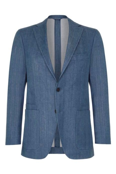 Drakes Single-Breasted Indigo Cotton Jacket