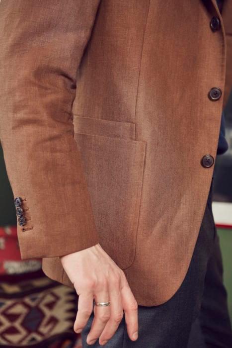 Tobacco linen jacket drakes
