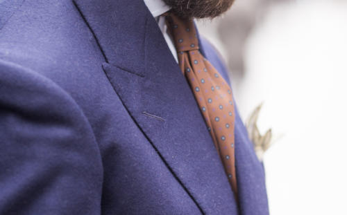 royal blue flannel and orange tie